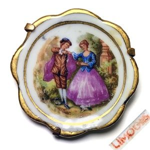 Vintage 40s LIMOGES France Couple Porcelain Brooch